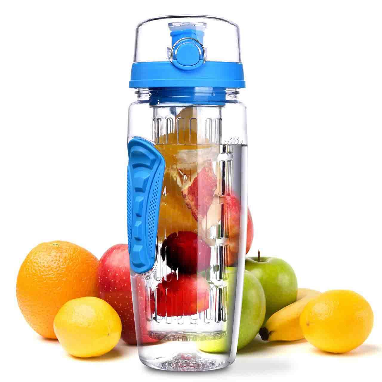 OMORC Botella Agua Deportiva, 1L Botella de Agua con Filtro Infusor de Fruta, sin BPA Reutilizable