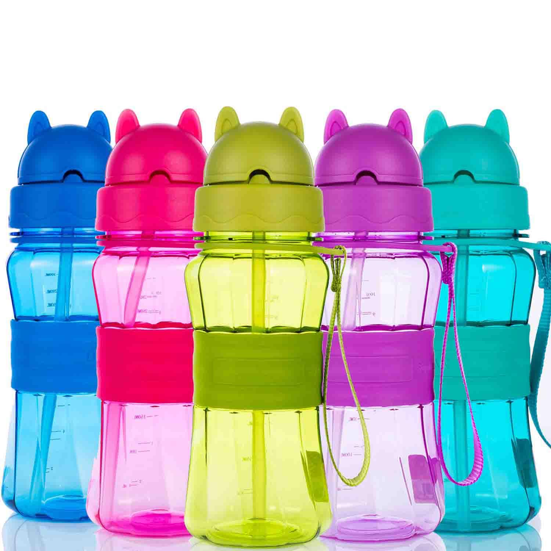 Botella de Agua Niños y Niñas Sin BPA Tritan Botella de Agua Deporte con Pajita y Correa para Infantil, Escuela, Corrida, Senderismo