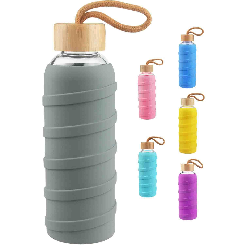 SHBRIFA Botella de Agua de Vidrio de Borosilicato Deportivo 480ml / 1000ml / 1 Litre, Botella de Agua de Cristal con Funda de Silicona y Tapa de Bambu