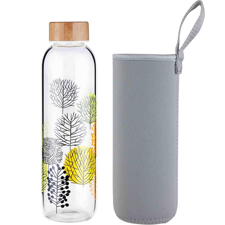 FCSDETAIL Botella de Agua de Cristal sin BPA, Botella de Agua de Vidrio de Borosilicato con Funda de Neopreno y Tapa de Bambú 420ml 660ml 1000ml