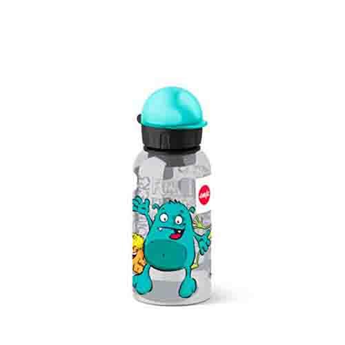 Emsa Botella hermética con diseño de Monstruo, Capacidad de 0.4 l, antiderrame con Piezas fáciles de Limpiar
