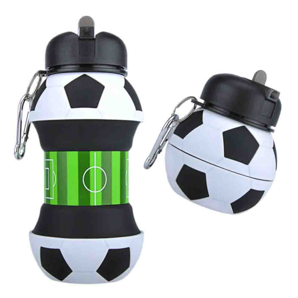 AToZ UK - Botella de Agua de fútbol para niños - Botella de Silicona Plegable - Taza de Bebida Sin BPA, a Prueba de Fugas