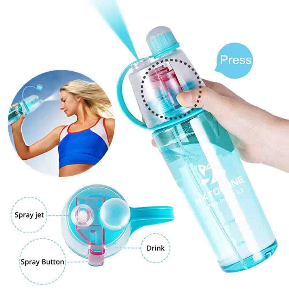 HKTOPONE Botella de Agua 600 ml Botella de Agua Deportiva Azul Botella de Bebida