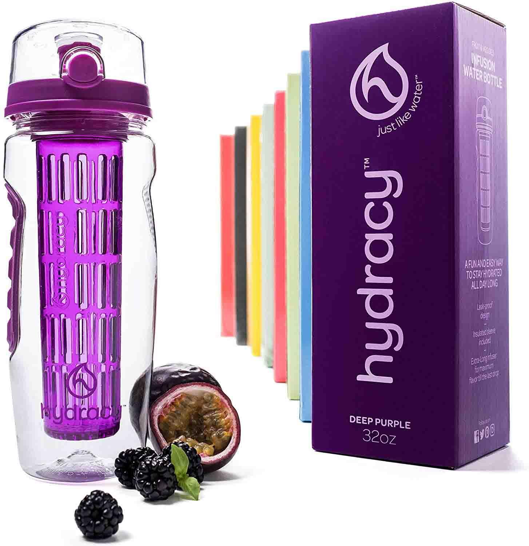 Hydracy Botella de Agua con Filtro infusor para Fruta 1Litro con Funda Aislante antitranspirante - plástico Durable 100% sin BPA