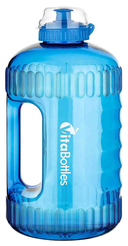 VitaBottles Gimnasio Fitness Botella para Beber 2.2 litros XXXL Libre de BPA Libre de DHEP Negro Rojo Azul Deportes Botella para Beber Contenedor de Agua