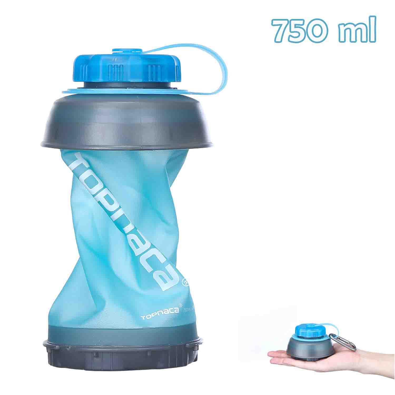 Topnaca Botella de Agua Plegable 750 ml sin BPA Plegable Reutilizable Ligera compacta portátil para Camping Senderismo Escalada Viajes