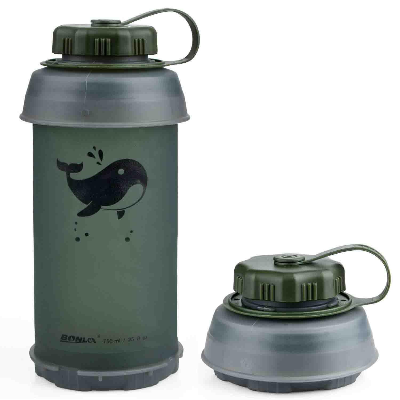 Botella de Agua Plegable Reutilizable Ligera Ideal para Deporte Ocio Exterior y Viajes
