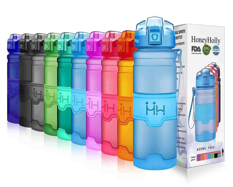 HoneyHolly Botella de Agua Deporte 400ml 500ml 700ml 1l, sin bpa tritan plastico, Reutilizables a Prueba de Fugas Botellas Potable con Filtro para niños, Colegio, Sport, Gimnasio, Trekking, Bicicleta
