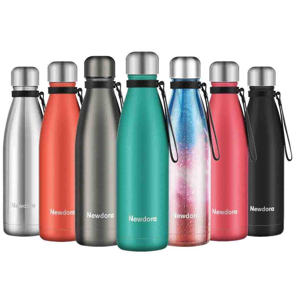 Newdora Botella de Agua Acero Inoxidable 500ml, Aislamiento de Vacío de Doble Pared, Botellas de Frío Caliente, con 1 un Cepillo de Limpieza