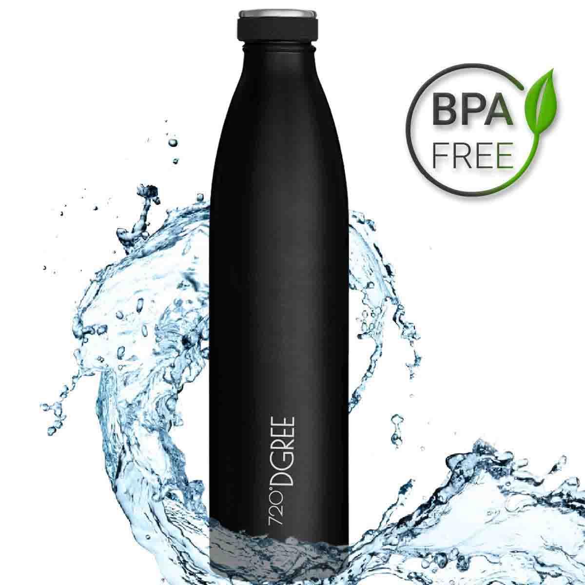 720°DGREE Botella Agua Acero Inoxidable milkyBottle 1 LitroNegro Novedoso Antigoteo con Termo de vacío