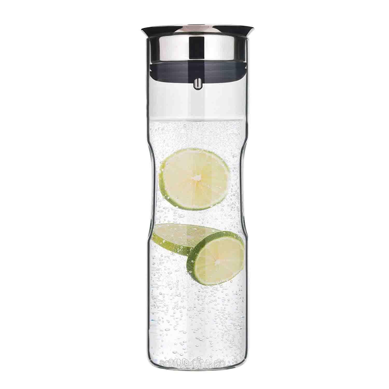 WMF Motion - Jarra de agua 1,25 l, altura de 29 cm jarra de cristal tapa de silicona CloseUp set de cierre de agarre para lavavajillas